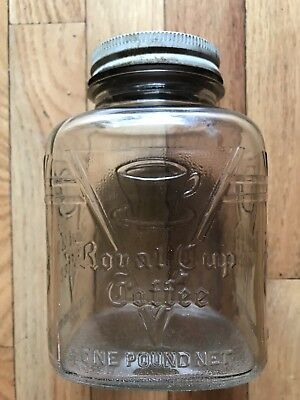 Vintage Royal Cup One Pound Square Glass Coffee Jar