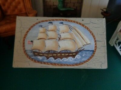 Hand painted nautical dollhouse trunk