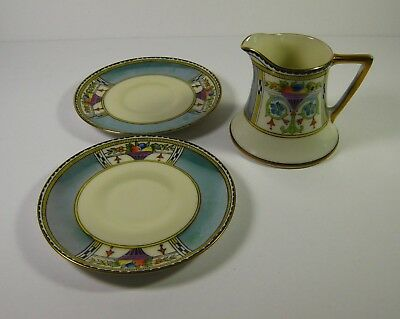 Vintage Noritake China Morimura Hand Painted Creamer & 2 Saucers Red Stamp Japan