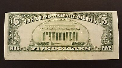 (Error) 1977A $5 Note With A Misaligned Back Printing