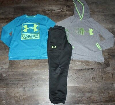 Boys Under Armour Jogger Pants Hooded Tee Shirt Size Small 8 Lot