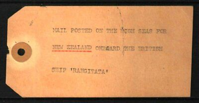 "PITCAIRN ISLAND 1940s-50s MAIL TAG TO NEW ZEALAND ""RANGITATA"""