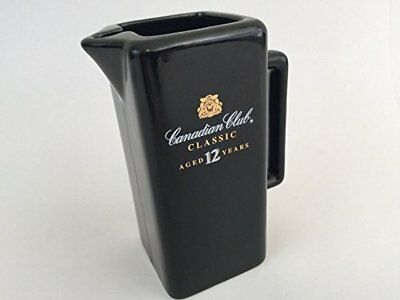 """Canadian Club Classic Black Ceramic Pitcher Collectible Barware """"Aged 12 Years"""""""