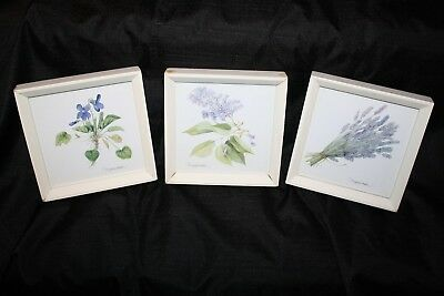 Lot Three 3 Marjolein Bastin Framed Pictures Small Purple Green Flowers Floral