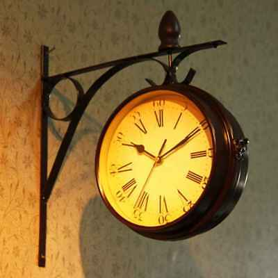 Antique Silent Double Sided Wall Mounted Hanging Clock Garden Hallway Home Decor