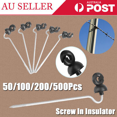 50-500 Screw in Offset Electric Fence Wood Timber Post Insulators Tape Cord Wire