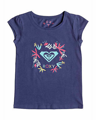 NEW ROXY™  Girls 2-7 Moid Flower Logo Cap Sleeved T Shirt Teens Tops