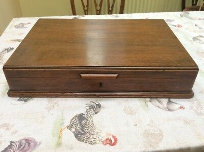 Antique Vintage Wooden Clean Oak  Cutlery Box - c1930 With Key,