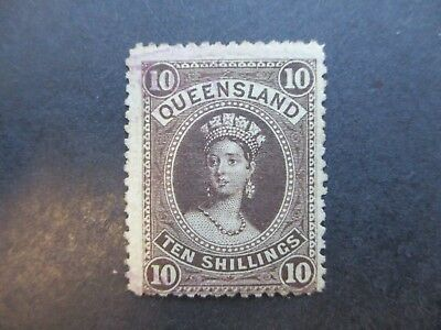 Queensland Stamps: 10/- Brown  Chalon Mint  (j52)