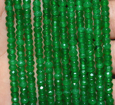 """2x4mm Faceted Natural Emerald Abacus Gems Loose Beads 15"""" AAA"""