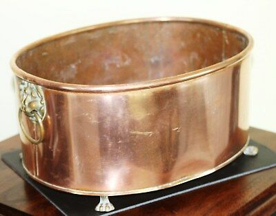 Antique Copper Planter Lions Head Handles And Claw Feet