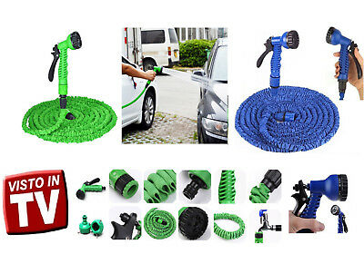 Tubo Estensibile Con Pistola Multigetto Per Giardino Magic Hose 15Mt 22.5Mt 30Mt