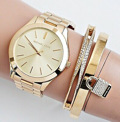 1719863782 MICHAEL KORS MK3179 Ladies Watch Slim Runway Gold Tone Stainless ...