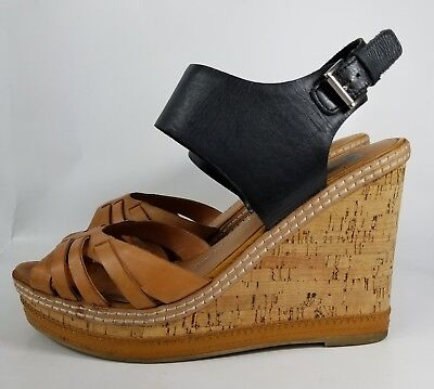 03a5e35f9d90 Dolce Vita Womens Shoes 10 Wedge Sandals Black Brown Leather High Heel Cork