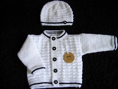 Gorgeous new hand knitted cardigan + hat  set in white NEWBORN (UNISEX)