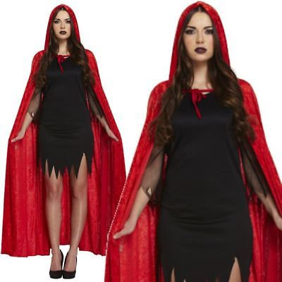 Deluxe Hooded Red Crushed Velvet Cloak Witch Vampire Cape Halloween Costume