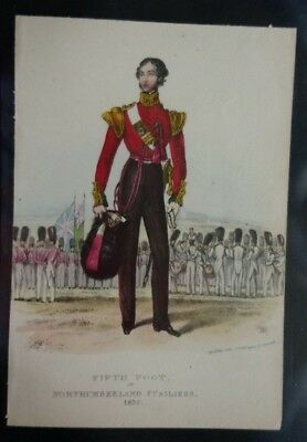 Great Britain 1837 Northumberland Fusiliers 5Th Foot Coloured Print