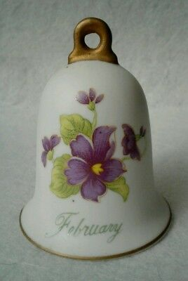 Vintage Lefton February Bell with Purple Flower