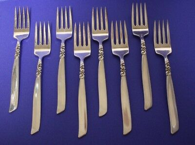 Set of 8 Oneida Community South Seas Salad Forks, excellent condition.