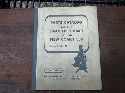 Old Linotype Parts Catalog Manual New Comet Printing Press Illustrated Breakdown
