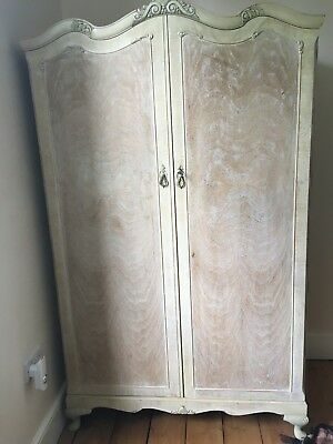 Vintage French Armoire/2 door wardrobe/distressed/painted shabby chic