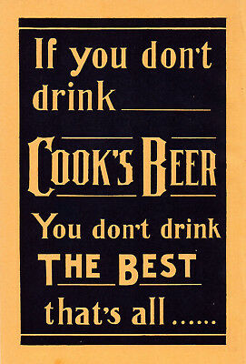 1914 F. W. Cook Brewing Co, Evansville, Indiana Two-Sided Color Cook's Beer Ad