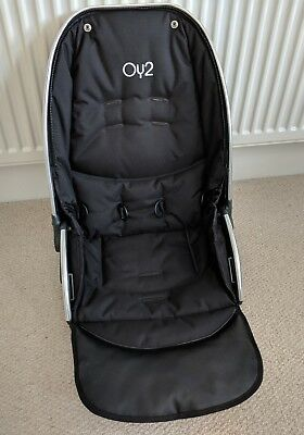 BABYSTYLE OYSTER 2 & MAX UPPER SEAT UNIT BLACK FABRICS.Silver Chrome.Replacement