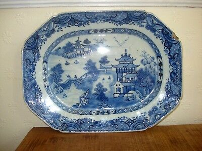 1xstunnning  chinese 18th century qianglong blue white large  meat plate