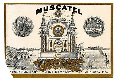 1900s MOUNT PLEASANT WINE CO, AUGUSTA, MISSOURI MUSCATEL WINE PRE-PRO LABEL