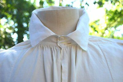 MID 19THC MEN'S SHIRT IN COTTON WITH LINEN COLLAR LARGE SIZE MONO w/PROVENANCE