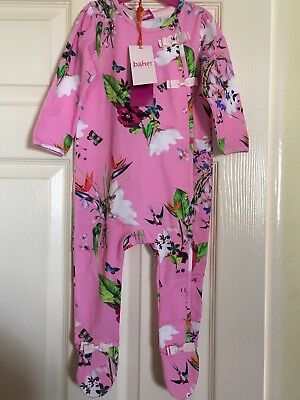 BNWT Ted Baker Girls Sleepsuit Pink Oasis 12-18 Months