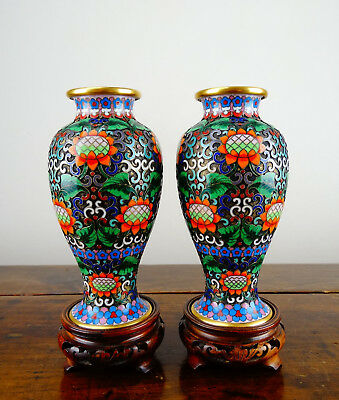 Pair of Chinese Cloisonne Bronze Baluster Vases on Stands Enamel with Flowers