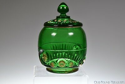 c 1896 ESTHER AKA TOOTH & CLAW by Riverside Glass GREEN W/GOLD Sugar w/Cover