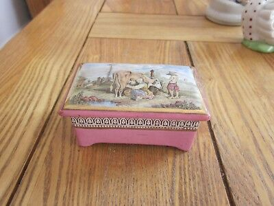 Prattware Pot Lid Trinket Box 'milking The Cow' Pratt Ware