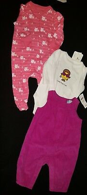 New infant baby girl Gap hot pink corduroy jumpsuit long sleeve top 0-3 jammie