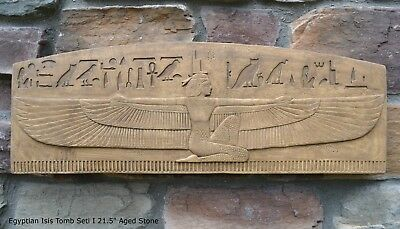 "Egyptian Isis Tomb Seti I Sculptural wall relief plaque 21.5"" Rare antique fin"