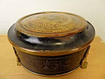 Lge enamelled  & ebonised wood Victorian jewellery casket box