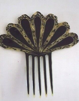 Antique Massive Celluoid Fan Hair Comb Pick - Black Green Filigree- BEAUTIFUL
