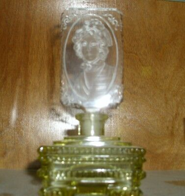 Antique Czech Glass Perfume, Intaglio Stopper, amber body