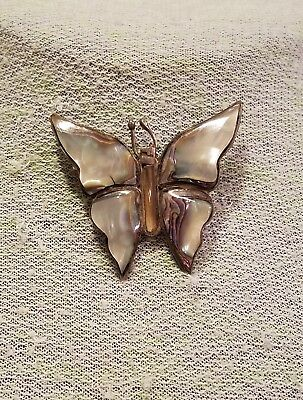 Vintage 925 Fine Sterling Silver Mexico Abalone Shell Inlay Butterfly Brooch Pin