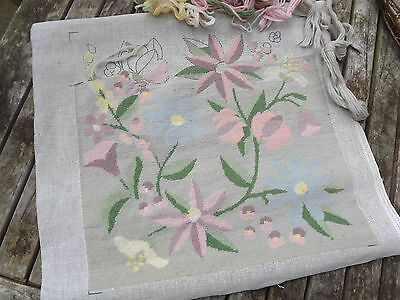 VINTAGE FLORAL NEEDLEPOINT TAPESTRY CUSHION;Soft Greys/Pinks PART FINISHED+WOOL