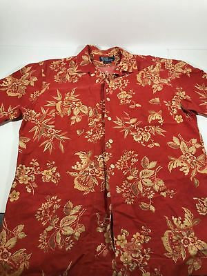 Vintage POLO RALPH LAUREN Cotton Linen Hawaiian Floral SHIRT Men's Large Tall