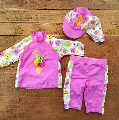 Girls Swimsuit With Hat Age 6-9 Months Tu