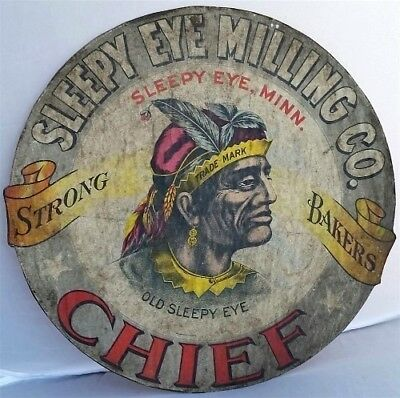 """Original Chief Sleepy Eye Milling Strong Bakers Flour Barrel Cover Label 14¼"""" Mn"""