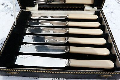 6 Six Set Antique Vintage Cutlery Silver Plated EPNS Fish Knives Forks Box