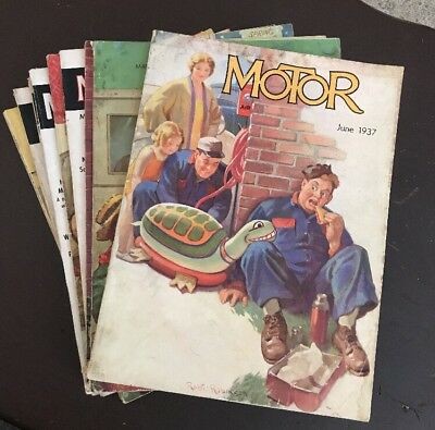 Vintage Lot of 9 Motor Magazines 1930's - 1940's - 1950's Car Automobile