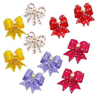 Pet Small Dog Hair Bows w/Faux Pearl for Puppy Cat Rubber Bands Grooming Bow