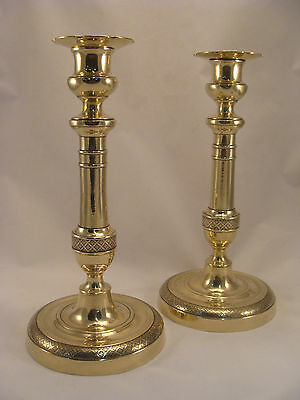 Unique Pair Antique French Brass Bronze Directoire Candlesticks 18th.C. (6897)
