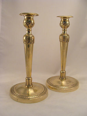 Unique Pair Antique Bronze / Brass Candlesticks French Directoire period 18th.C.