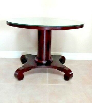 Antique Table Round Coffee Tea Serving Empire Style Mahogany 19th Century